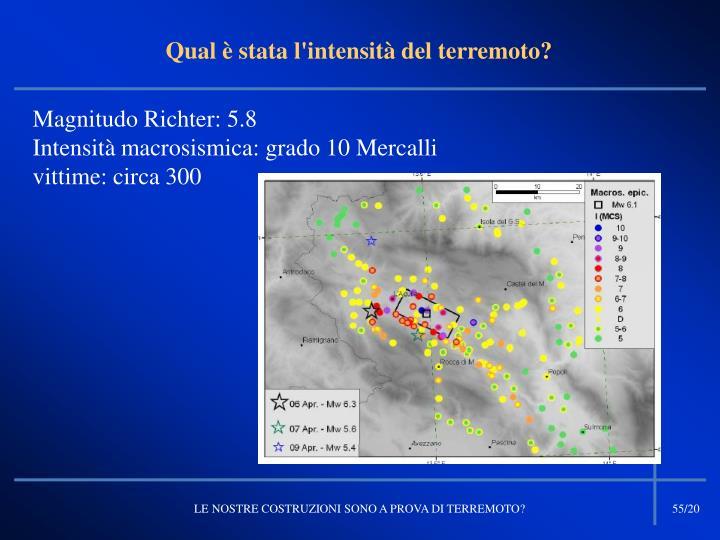 Qual è stata l'intensità del terremoto?