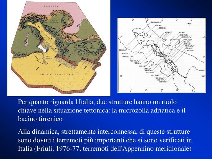 Per quanto riguarda l'Italia, due strutture hanno un ruolo chiave nella situazione tettonica: la microzolla adriatica e il bacino tirrenico