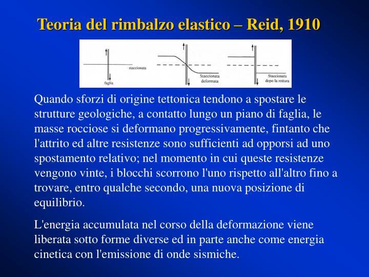 Teoria del rimbalzo elastico – Reid, 1910