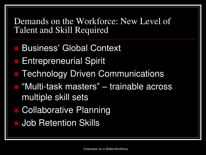 Demands on the Workforce: New Level of Talent and Skill Required