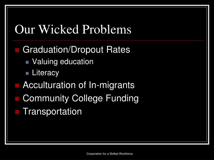 Our Wicked Problems