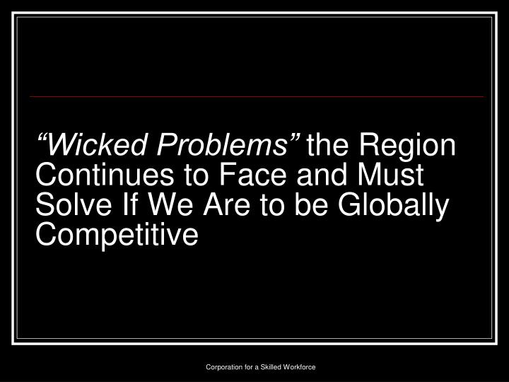 """Wicked Problems"""