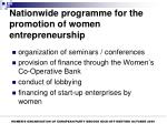 nationwide programme for the promotion of women entrepreneurship