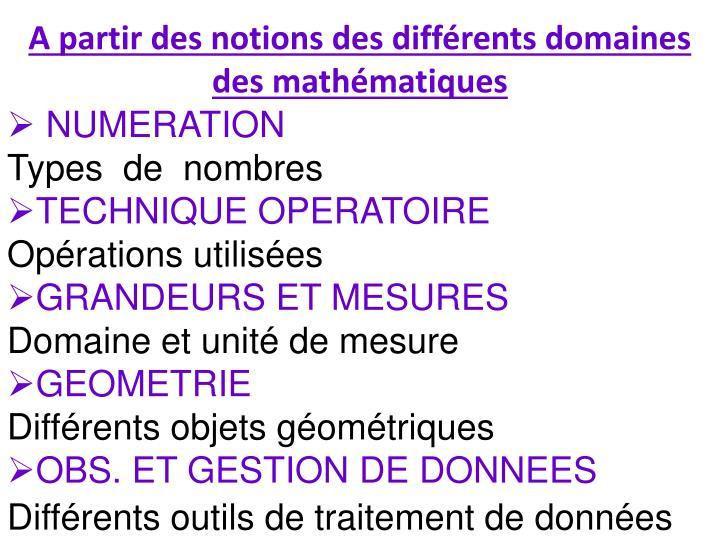 A partir des notions des différents domaines des mathématiques