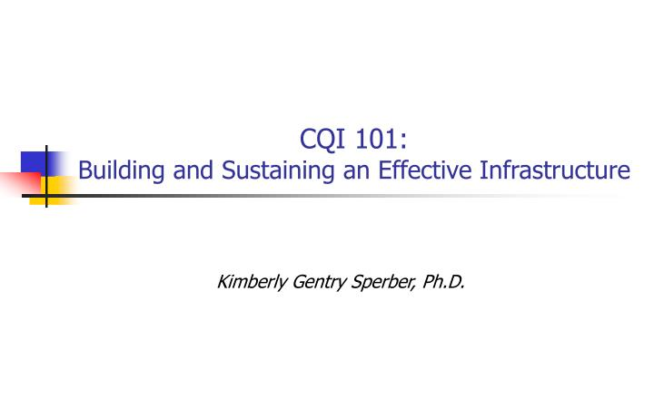 Cqi 101 building and sustaining an effective infrastructure