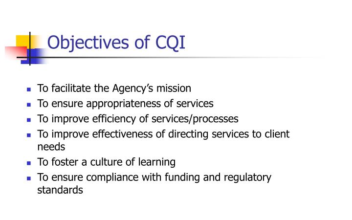 Objectives of CQI