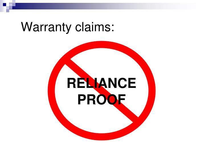 Warranty claims: