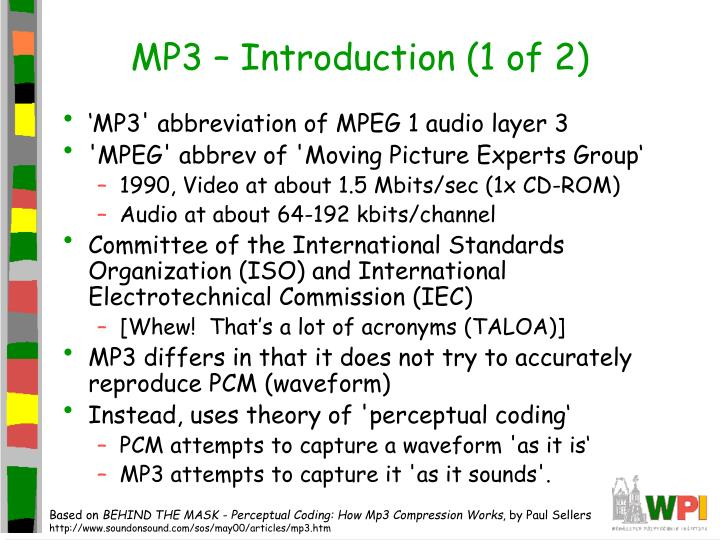 MP3 – Introduction (1 of 2)