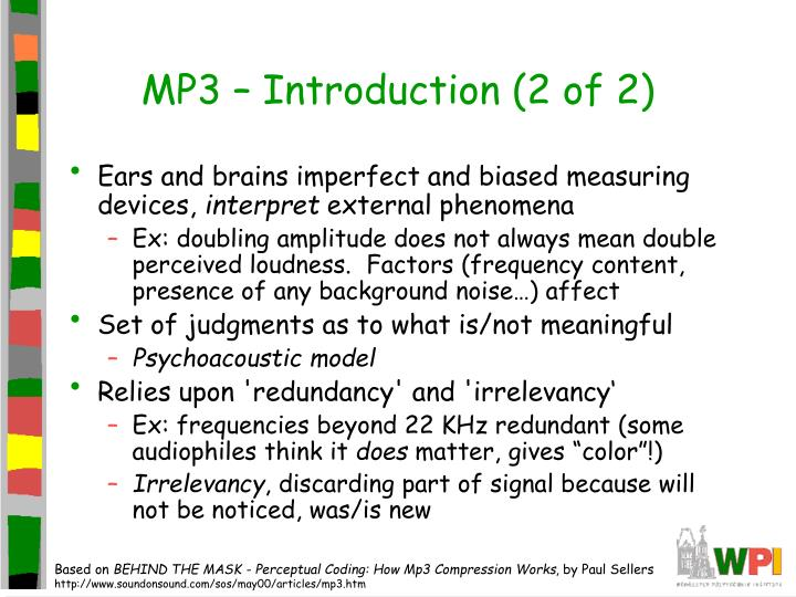 MP3 – Introduction (2 of 2)
