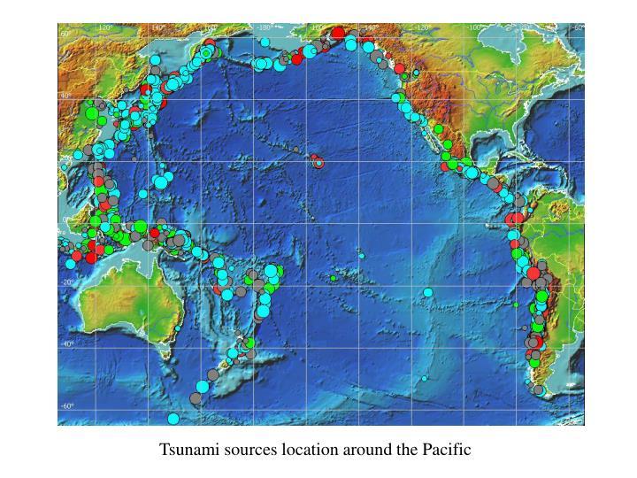 Tsunami sources location around the Pacific