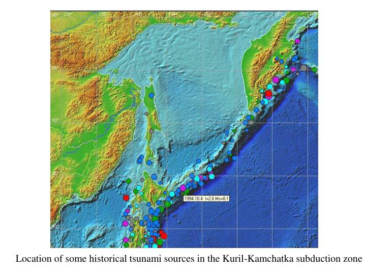 Location of some historical tsunami sources in the Kuril-Kamchatka subduction zone