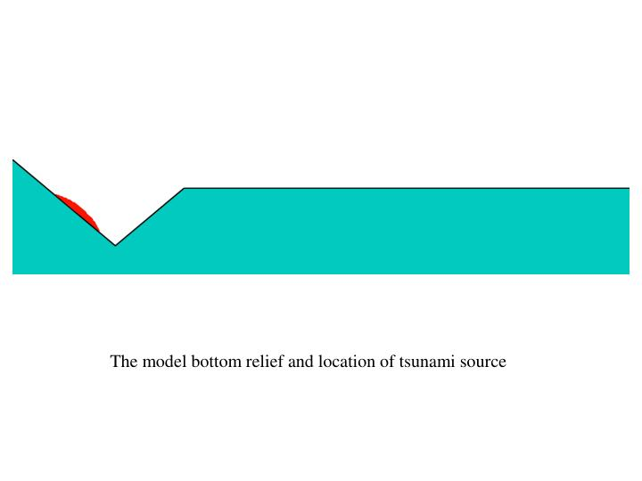 The model bottom relief and location of tsunami source