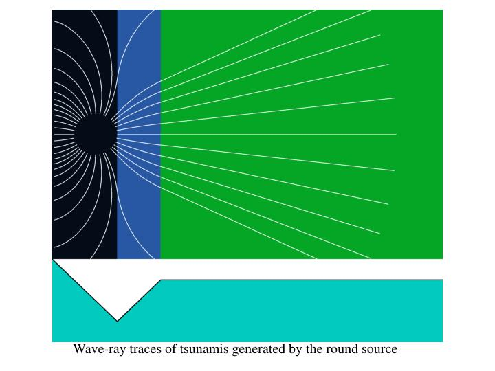 Wave-ray traces of tsunamis generated by the round source