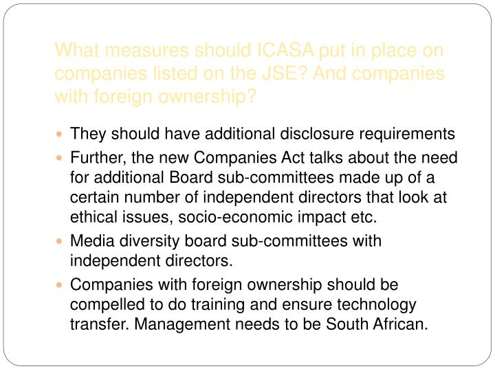 What measures should ICASA put in place on companies listed on the JSE? And companies with foreign ownership?