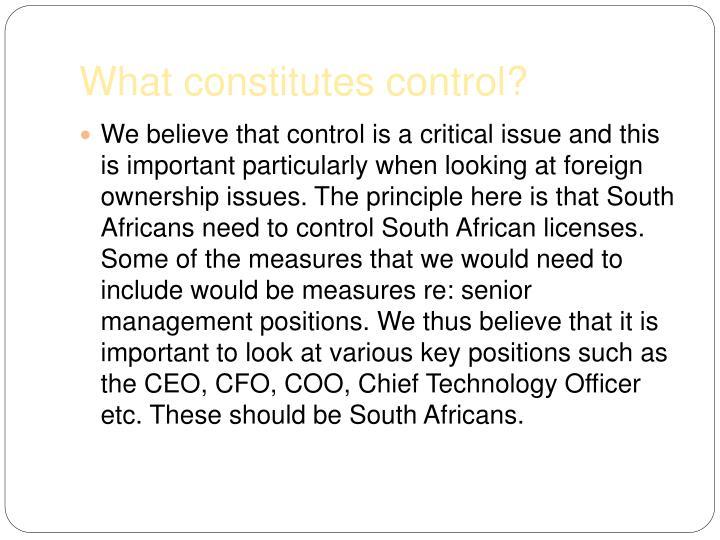 What constitutes control?