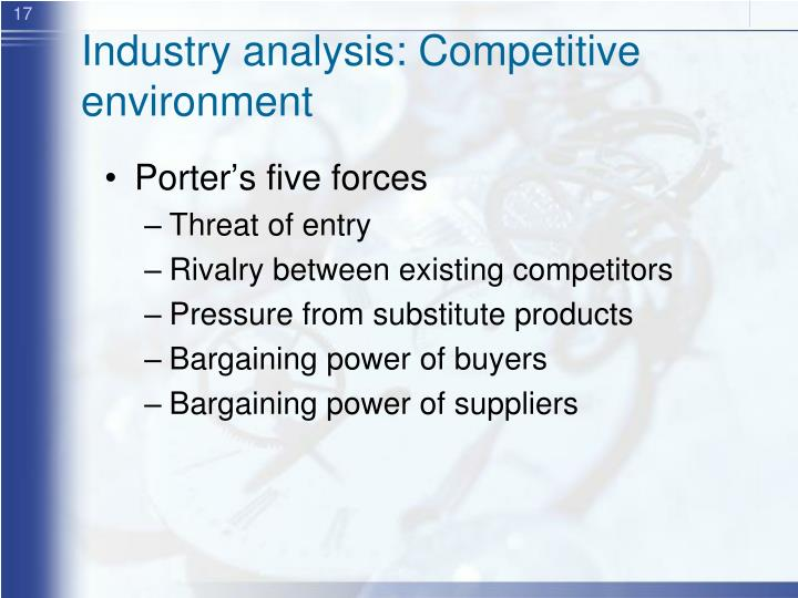 Industry analysis: Competitive environment