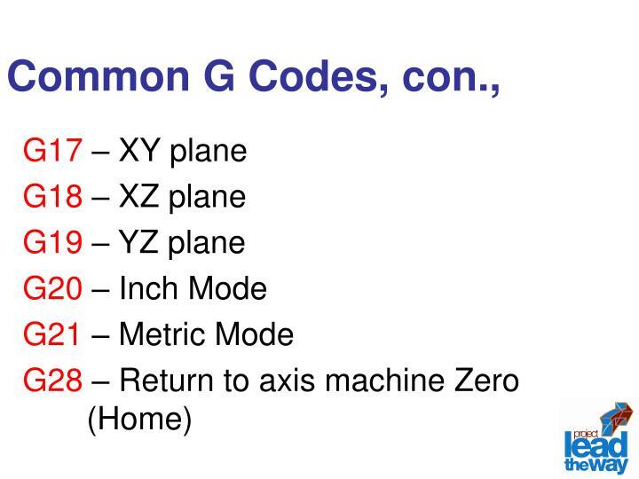 Common G Codes, con.,