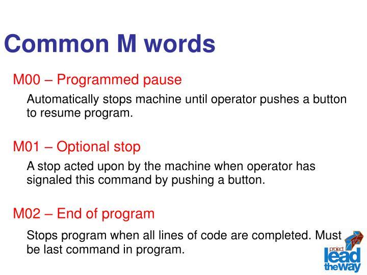 Common M words