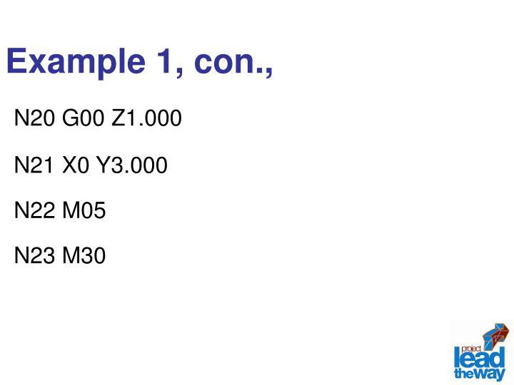 Example 1, con.,