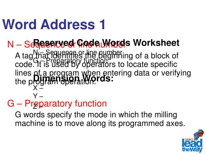 Word Address 1