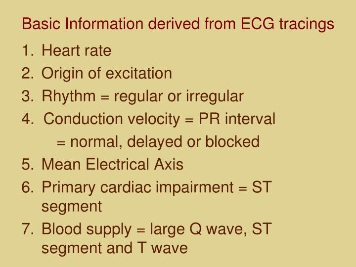 Basic Information derived from ECG tracings