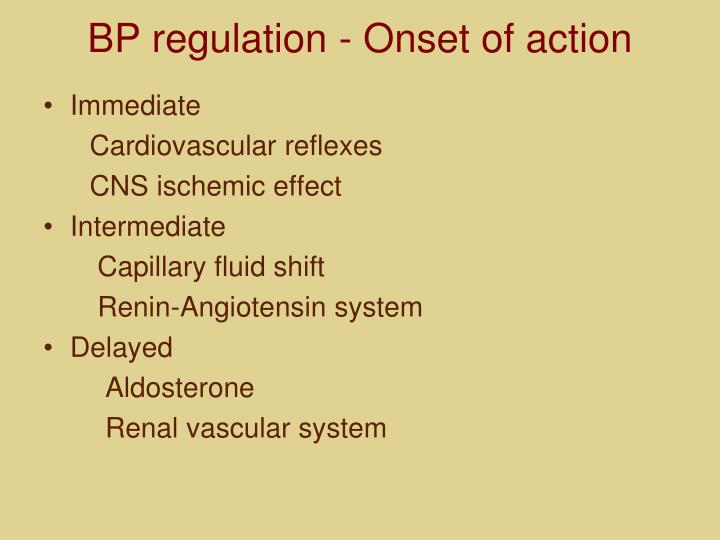 BP regulation - Onset of action