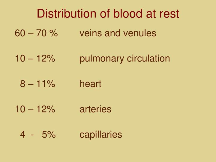 Distribution of blood at rest