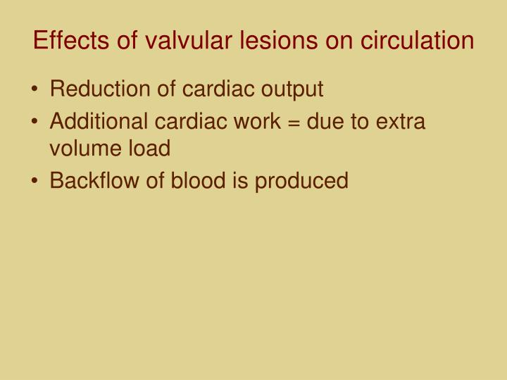 Effects of valvular lesions on circulation