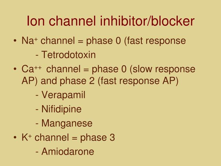 Ion channel inhibitor/blocker