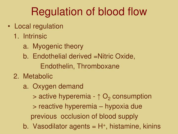 Regulation of blood flow
