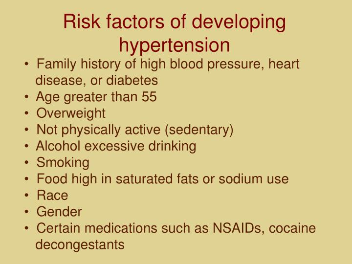 Risk factors of developing hypertension