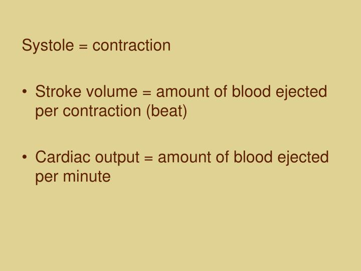 Systole = contraction