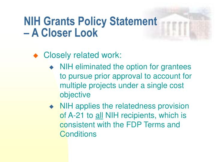 NIH Grants Policy Statement – A Closer Look