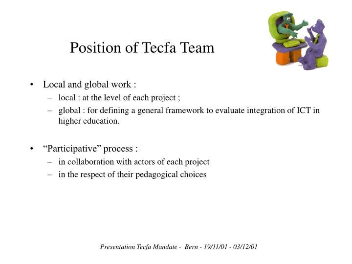 Position of Tecfa Team
