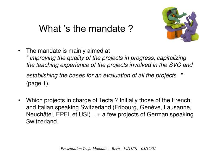 What's the mandate ?