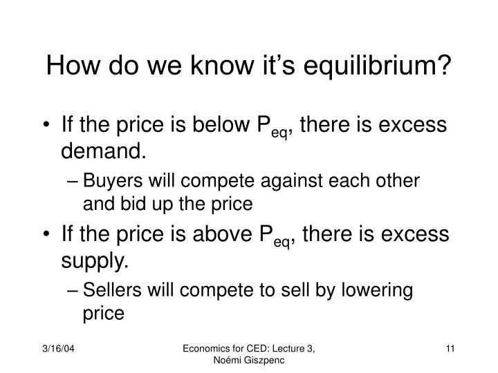 How do we know it's equilibrium?