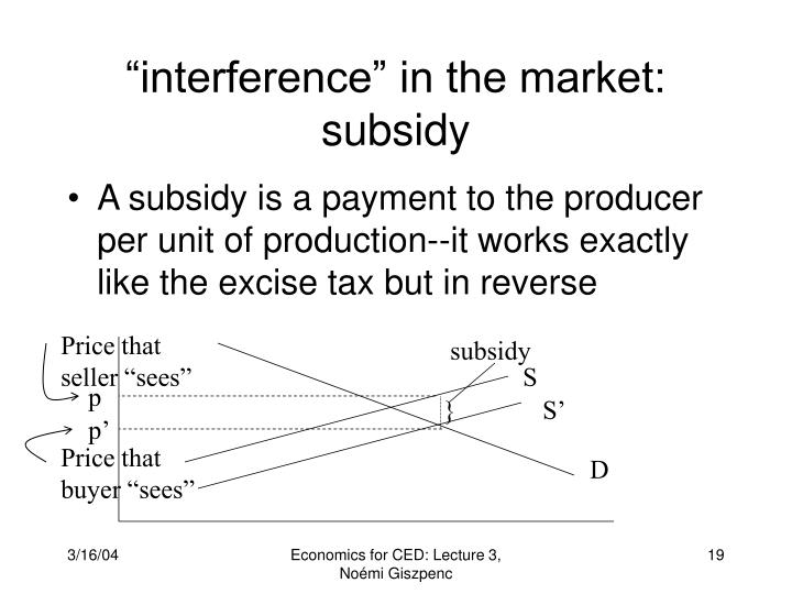 """interference"" in the market: subsidy"