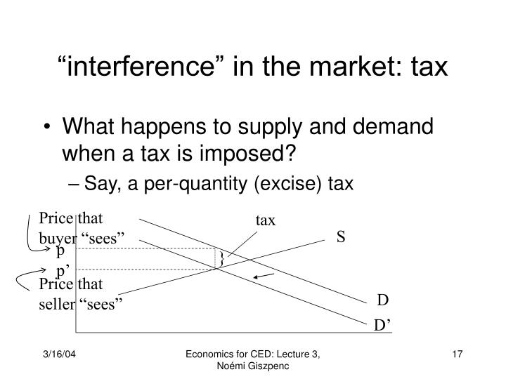 """interference"" in the market: tax"