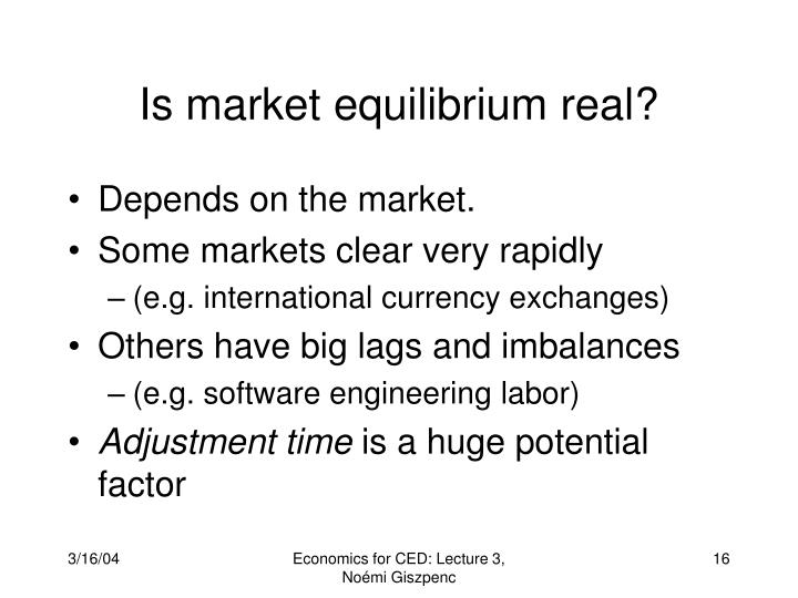 Is market equilibrium real?