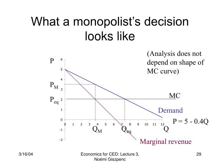 What a monopolist's decision looks like
