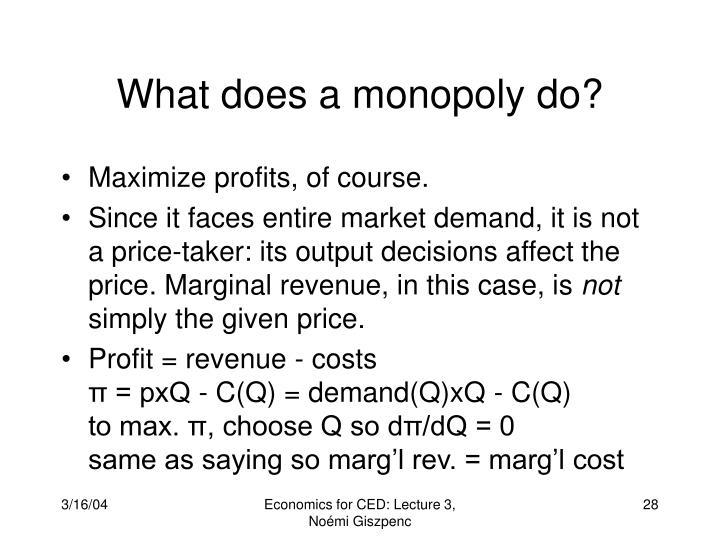 What does a monopoly do?
