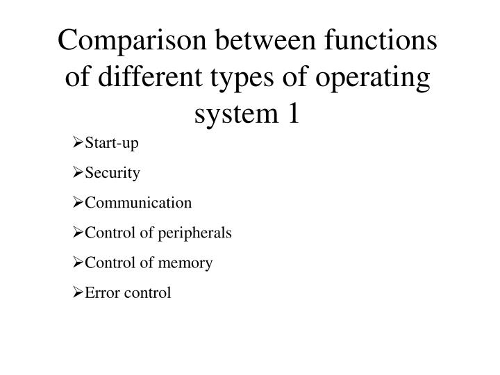 Comparison between functions of different types of operating system 1