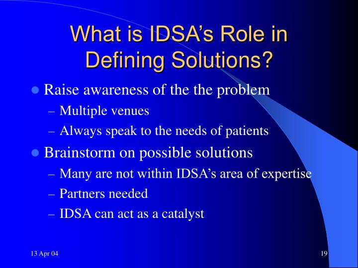 What is IDSA's Role in Defining Solutions?