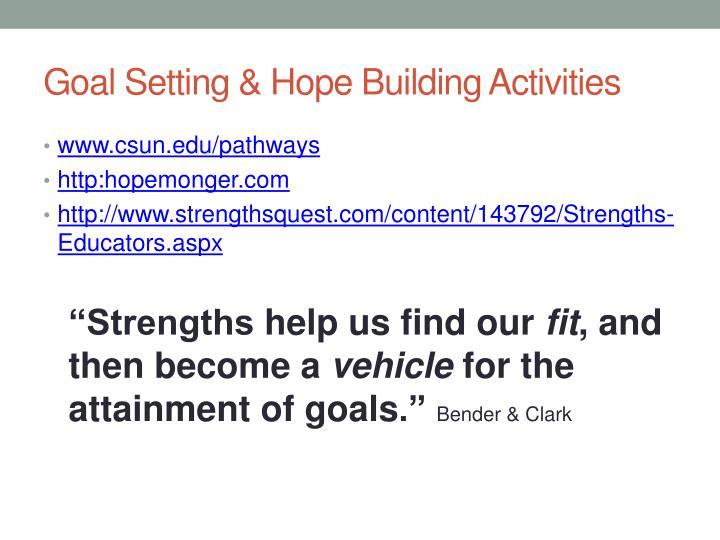 Goal Setting & Hope Building Activities