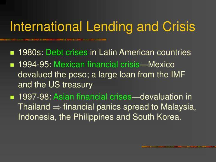 International Lending and Crisis