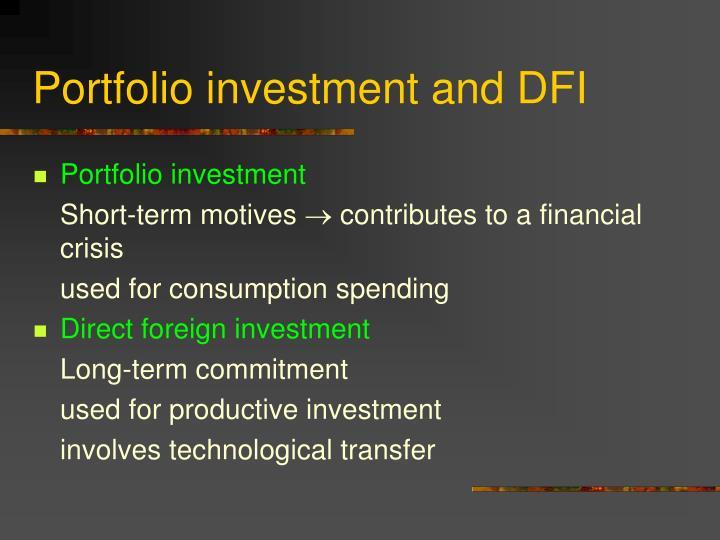 Portfolio investment and DFI