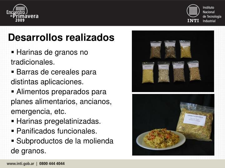 Harinas de granos no tradicionales.
