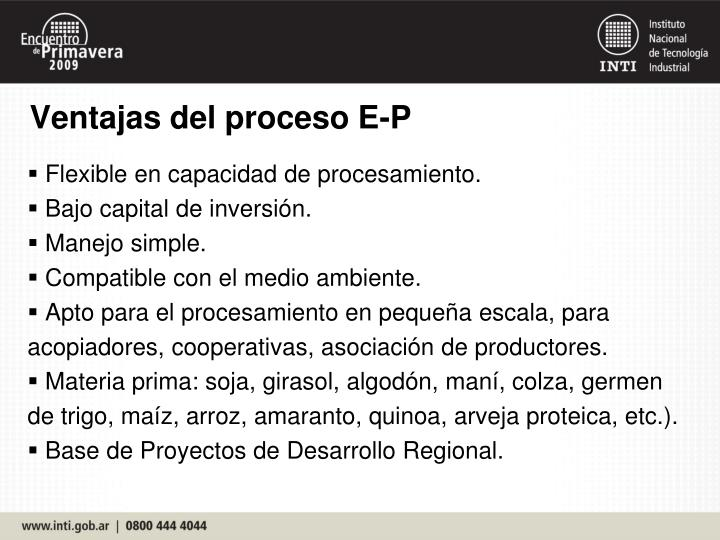 Ventajas del proceso E-P