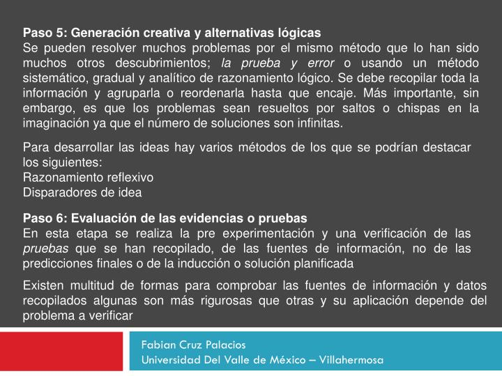 Paso 5: Generación creativa y alternativas lógicas