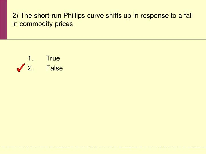 2) The short-run Phillips curve shifts up in response to a fall in commodity prices.